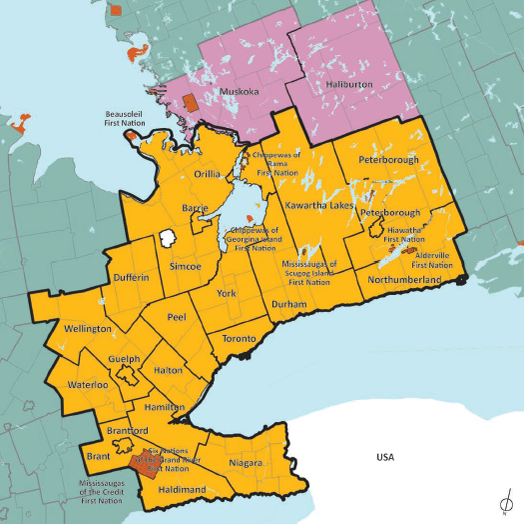 Map of the Greater Golden Horseshoe relative to the rest of Southern Ontario