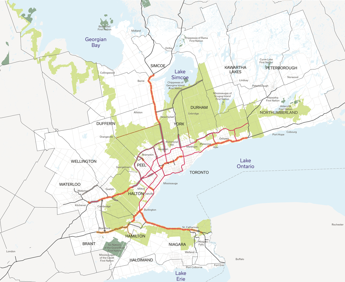 Map of the Greater Golden Horseshoe illustrating current, planned and conceptual future road infrastructure