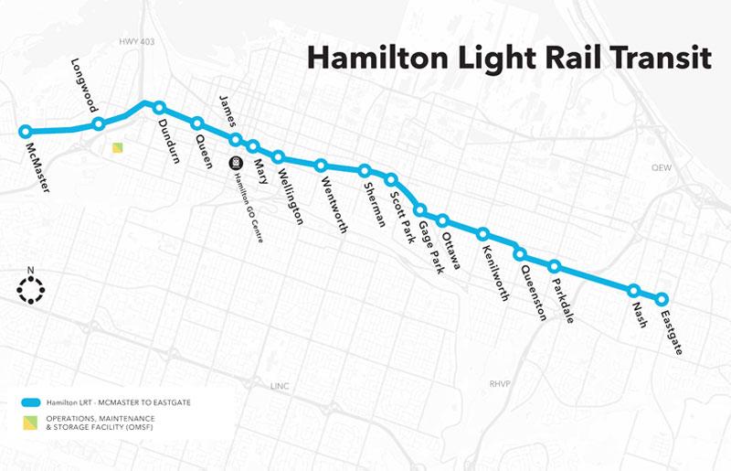 Map of new Hamilton Light Rail Transit project