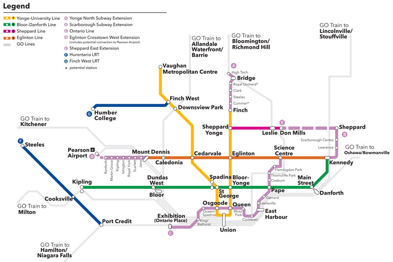 Map of four new Greater Toronto Area subway projects