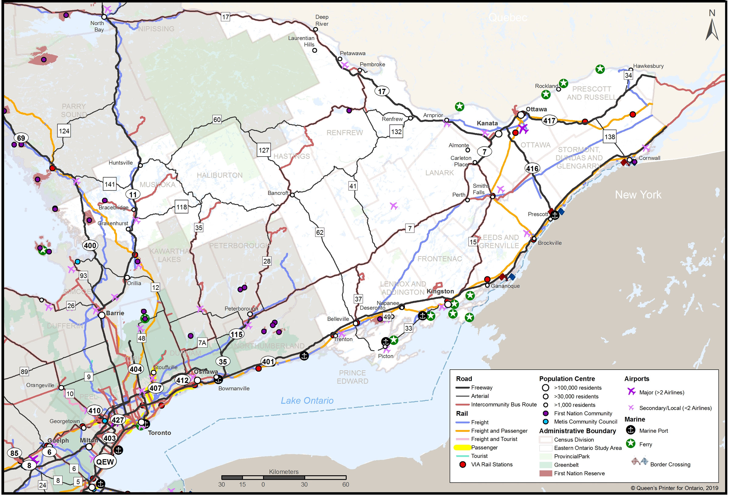 A map showing Eastern Ontario, including population centres, road and rail routes, airports and marine points.