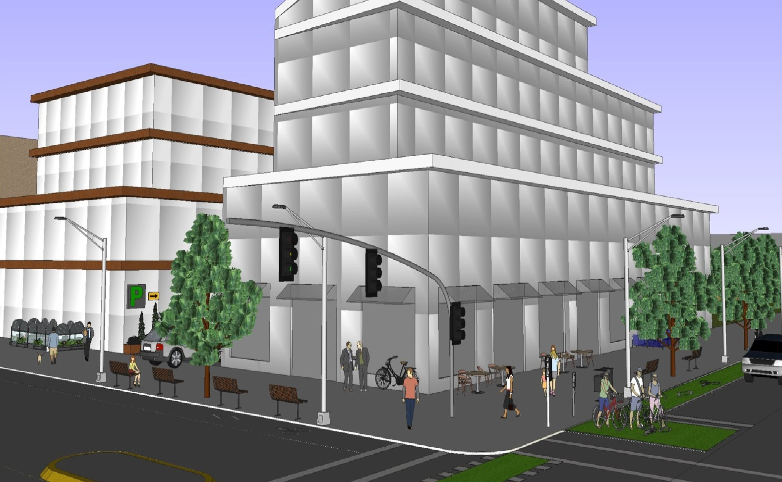 Image of streetscape showing matters that may be addressed as part of site plan control including access for pedestrians and vehicles, walkways, lighting, landscaping, and exterior design.
