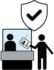 Illustration of a person showing their ID card at a kiosk.