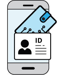 Illustration of a digital ID card in a digital wallet on a mobile phone.