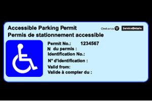 Blue accessible parking permit